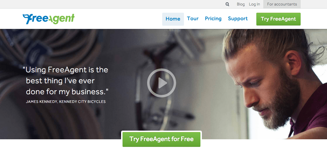 An amazing example of using video for your homepage by FreeAgent.