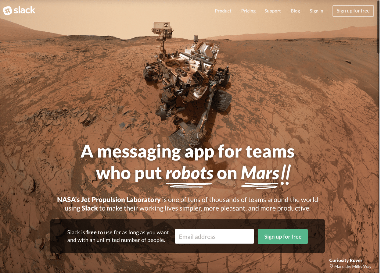 Slack are the bomb with their homepage design